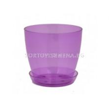 Саксия за орхидеи (прозрачна лилава) - Pot for orchid (purple)